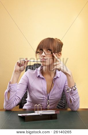 Thoughtful office worker