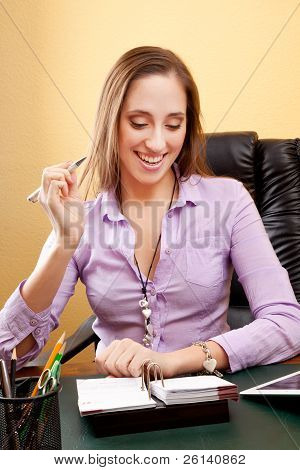 Joyful secretary