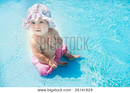 cute little girl in water pool