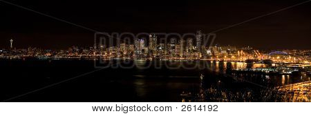 Seattle Nighttime Skyline Panorama