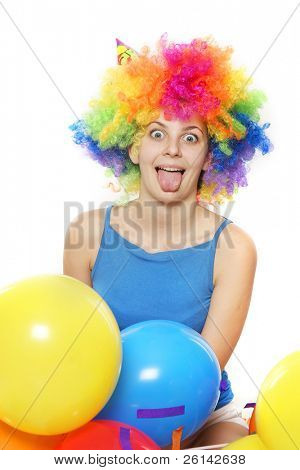 crazy happy young woman with colored hair over white
