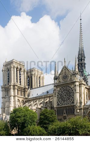 A detail of the Notre Dame, Paris, France with the sunlight striking the towers of this majestic cathedral and tourist attraction. The famous landmark is located on Ile de La CitŽ