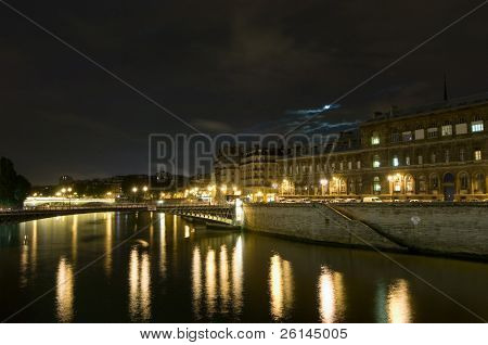 Seine River bridges at night