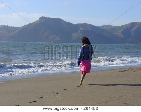 Barefooted Beach Girl