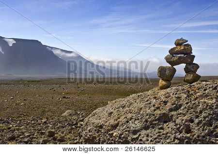 A Varda - or stone man - symbolising a safe onward journey, is often encountered in the rough Icelandic interior. To some it's the perfect balance representing Zen