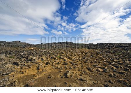 The lava fields, showing Icelands geothermal and volcanic activity in the Kjolur region.
