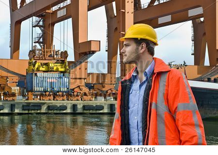 An engineer, closely watching the unloading of a container ship in a harbor environment
