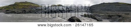 The rapids of melting water from the Vatnajokull glacier in Iceland, eroding the volcanic landscape