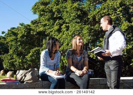 drei Studenten sprechen auf eine kleine Wand in einem University Park an einem schönen sonnigen Tag