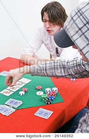 A poker player raising the stakes of a game in progress