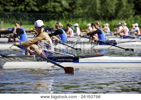 BOSBAAN, AMSTERDAM - 22 JULY: Jane Imfeld (USA Lightweight Women's Quadruple Sculls) looking over her shoulder prior to the start of their heat. On July 22, 2011 in Bosbaan, Amsterdam, The Netherlands