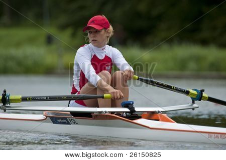 AMSTERDAM - JULY 23: Monika Kowalska (Poland BLW1x) looks over her shoulder in concentration before the start at the world championships rowing On July 23, 2011 in Bosbaan, Amsterdam, The Netherlands