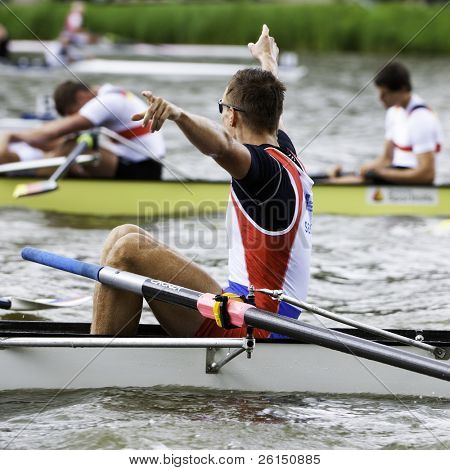 AMSTERDAM - JULY 23:Jovanovich and Serbia's Men's Coxed four wins gold at the world championships rowing under 23. A world record time of 6:03.01. On July 22, 2011 in Bosbaan, Amsterdam, Netherlands