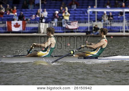AMSTERDAM-JULY 23: Hung and Brittain (South African Men's Pair)  finish first in the semi-finals of the world championships under 23. On July 23, 2011 in Bosbaan, Amsterdam, The Netherlands