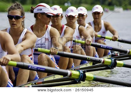 AMSTERDAM-JULY 22: The British women's 8 team concentrate before the start of their race at the world championships under 23.On July 22, 2011 in Bosbaan, Amsterdam, The Netherlands