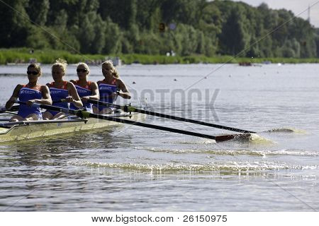 AMSTERDAM-JULY 22: Verburgh, De Boer, Rustenburg and Boers (Dutch Women's four) start at the world championships under 23, On July 22, 2011 in Bosbaan, Amsterdam, The Netherlands
