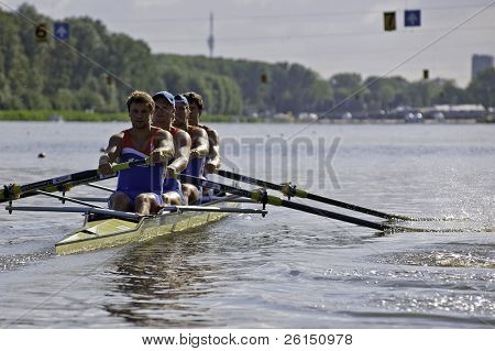 AMSTERDAM-JULY 22: De Groot, Buisman, van Blokland Heskes and Van De Ende (Dutch BM4+) start at the world championships under 23. On July 22, 2011 in Bosbaan, Amsterdam, The Netherlands
