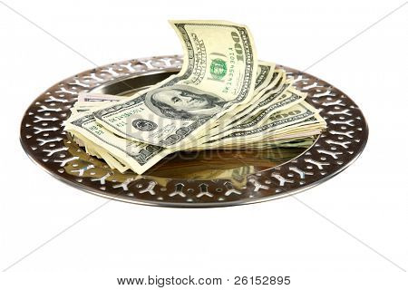 a silver tray piled high with $100.00 dollar bills. isolated on white with room for your text