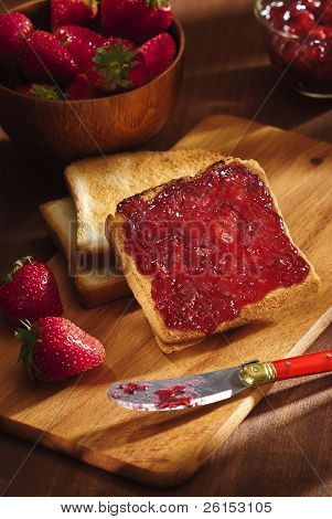 Toast With Cherry Jam