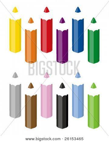 twelve crayons