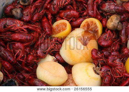 Closeup of a crawfish boil