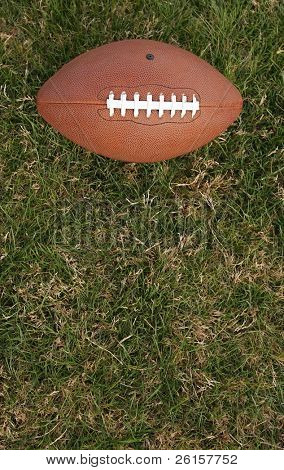 Football on grass with room for copy