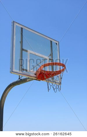 Outdoor Basketball Hoop against a blue sky