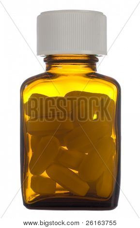 phial with pills, yellow bottle with pills inside isolated on white