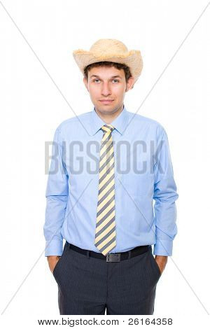 young businessman wears summer hat, holidays time, studio shoot isolated on white