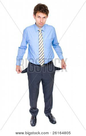 young attractive businessman shows his empty pockets, full body shoot, studio shoot isolated on white background