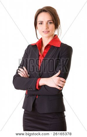 young and attractive businesswoman in red shirt and jacket, studio shoot isolated on white