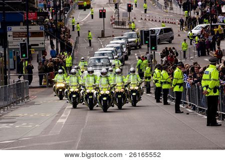 EDINBURGH, SCOTLAND, UK - SEPTEMBER 16: Pope Benedict XVI motorcade from Edinburgh Airport to Holyrood Palace, on September 16, 2010 in Edinburgh, Scotland, United Kingdom.
