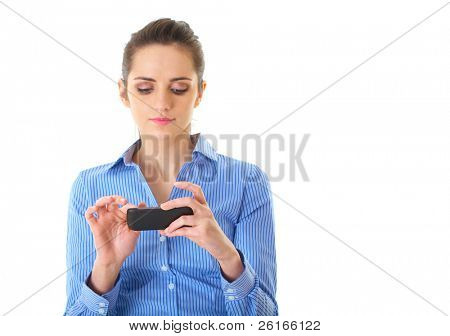 young attractive businesswoman use her smartphone, isolated on white