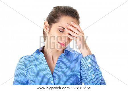 stressed and depressed young atractive businesswoman, headache and migraine concept, isolated on white