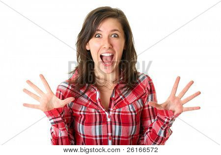 shocked and surprised young female in red shirt isolated on white background