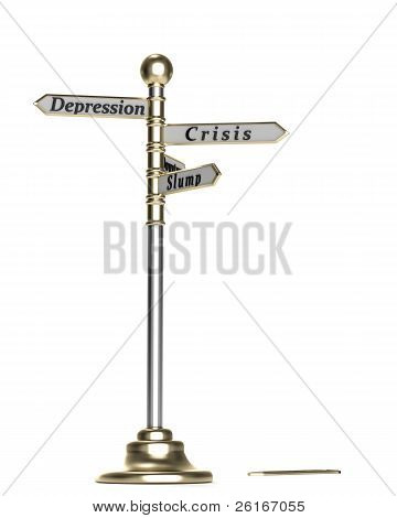 Guidepost to crisis, downturn, slope, depression