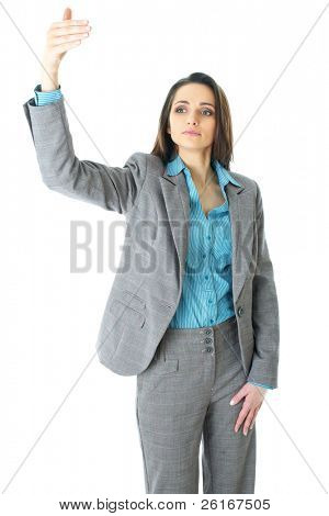 elegant young businesswoman try to call someone or taxi, hand gesture, isolated on white background