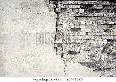 Detail shot of an old brick wall