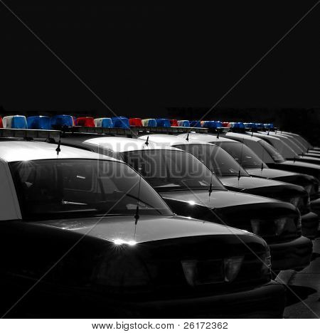 Row of Police Cars with Blue and Red Lights
