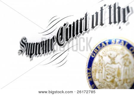 Close up of Supreme Court certificate
