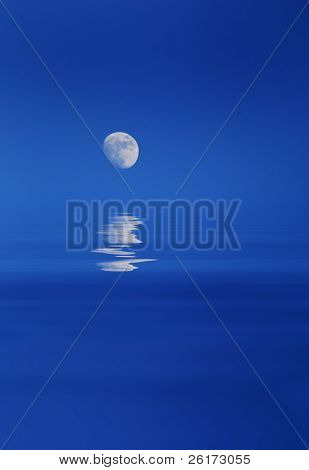 Full Moon Rising Over Watery Horizon