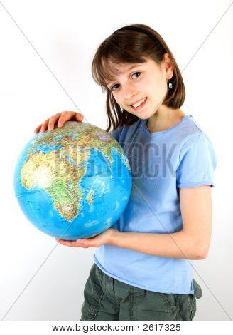 Girl Holding A Globe