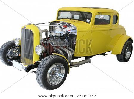 A restored Yellow 1932 Ford Coup Hotrod