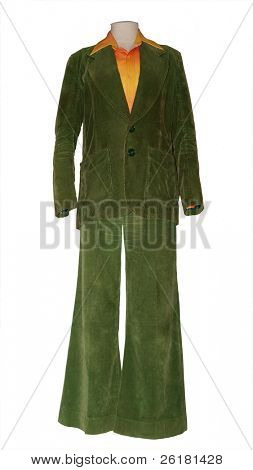 Old Olive Corduroy trouser suit on mannequin