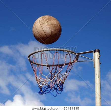 Ball ready to drop through the hoop