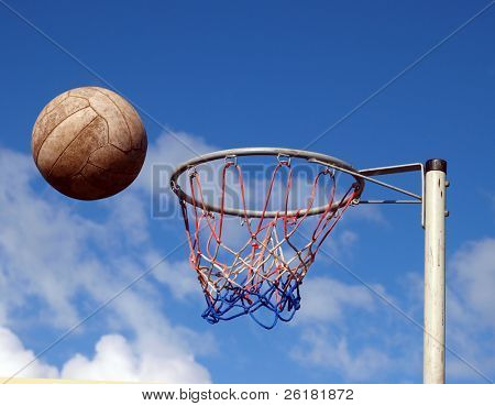 Net Ball just before hitting the rim of the hoop