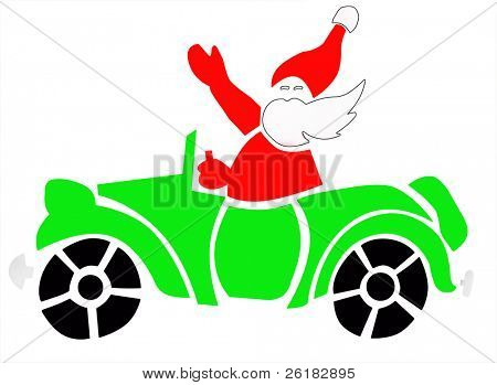 Santa in Blue Car isolated with clipping path