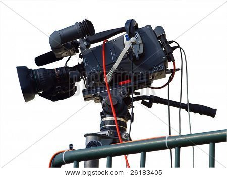 TV Camera isolated with clipping path