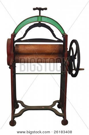 Antique Laundry Mangle isolated with clipping path