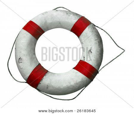 Antike Life Buoy isolated with Clipping path